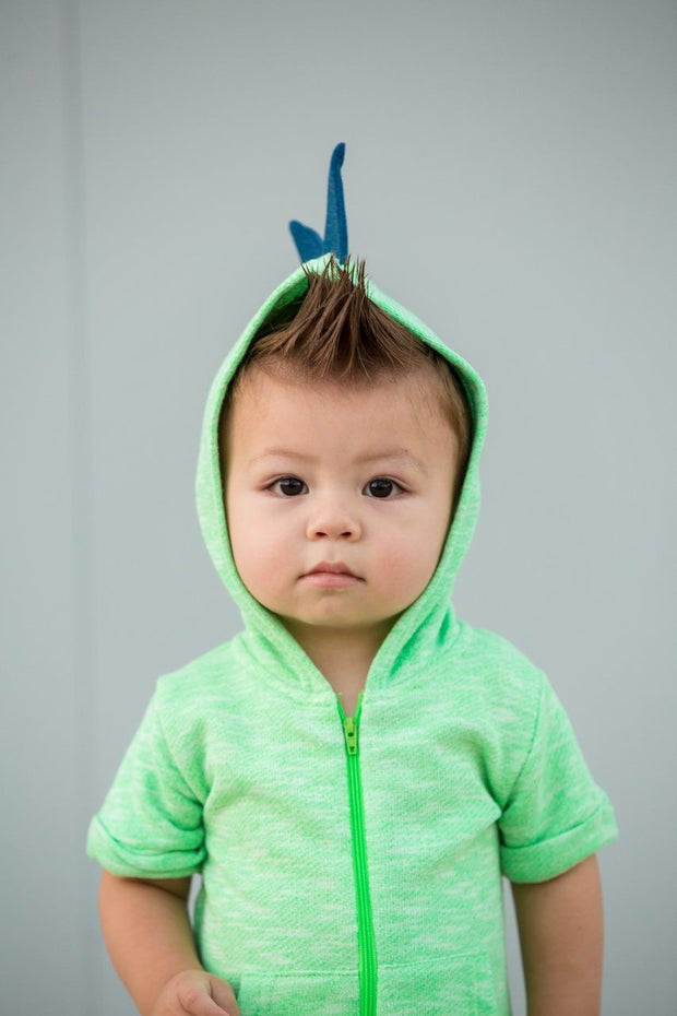 Green French Terry Zip Up Dino Hoodie Romper