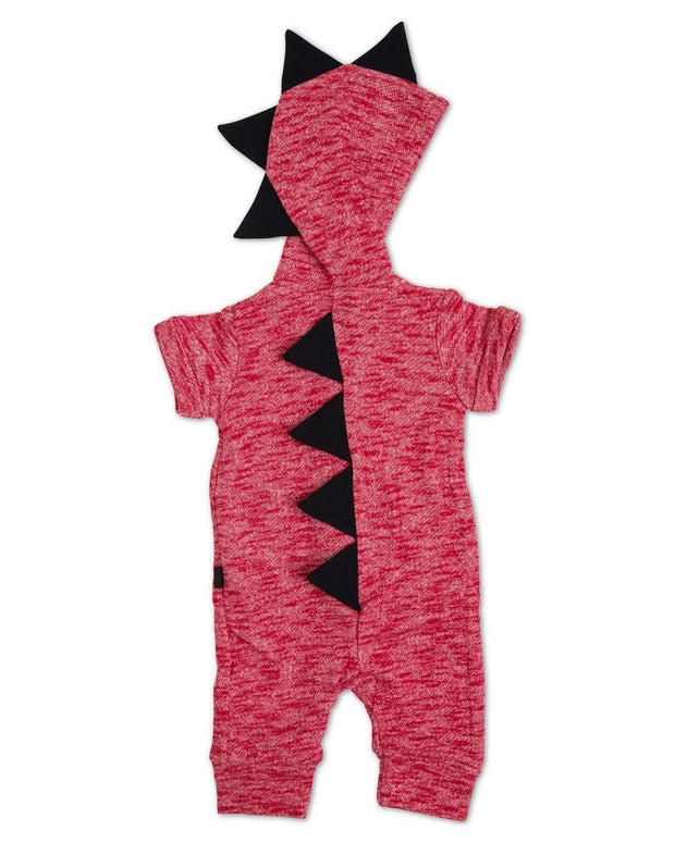 Red French Terry Zip Up Dino Hoodie Romper