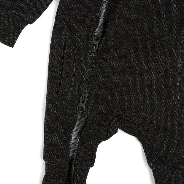 Black Faux Denim French Terry Zip Up Hoodie Romper