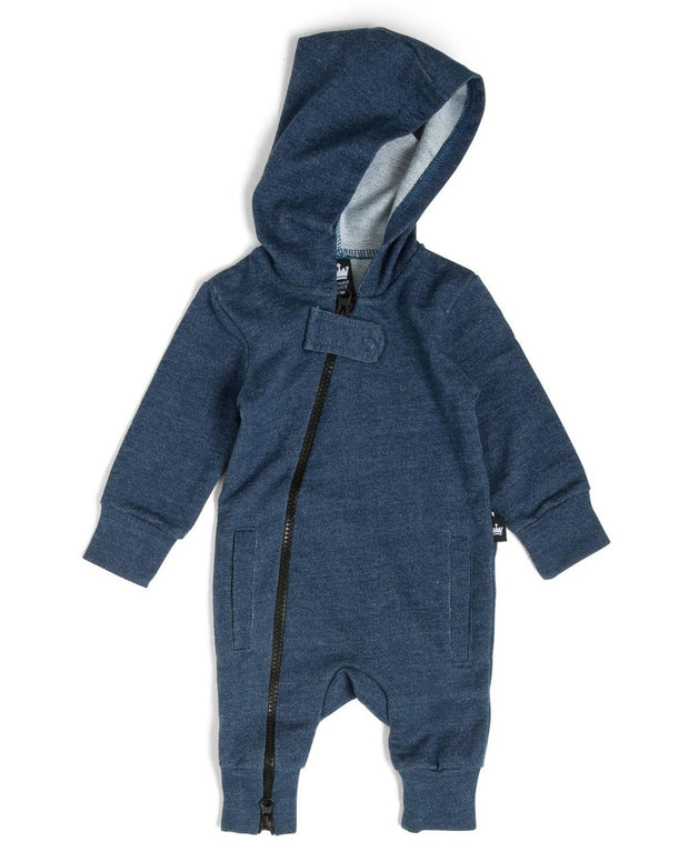 Blue Faux Denim French Terry Zip Up Hoodie Romper