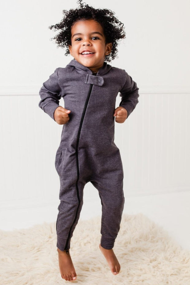 Charcoal Faux Denim French Terry Zip Up Hoodie Romper