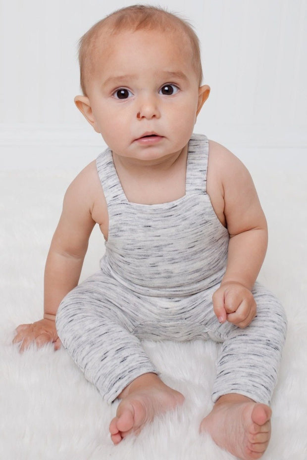 Gray French Terry Overall Romper