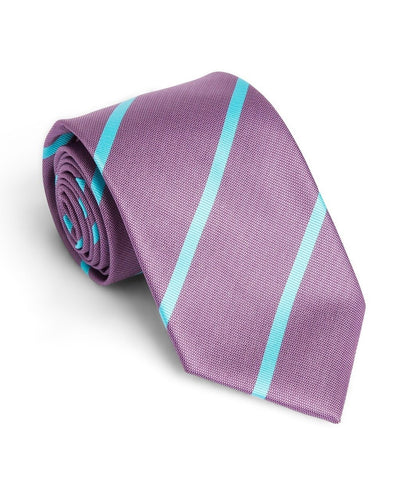 Violet and Aqua Stripe Standard Necktie (Adult and Youth)