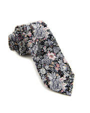 Charcoal and Rose Floral Standard Necktie (Adult and Youth)