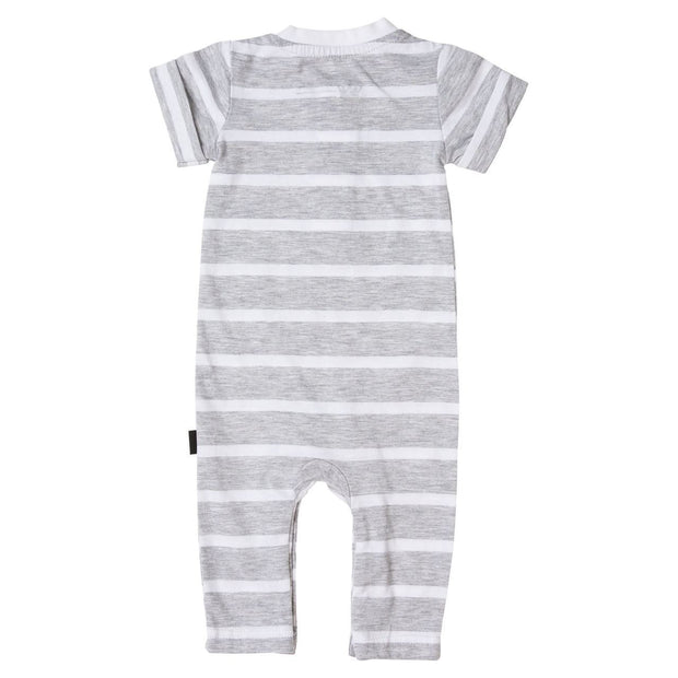 Thick Gray Stripe Short Sleeve Henley Romper