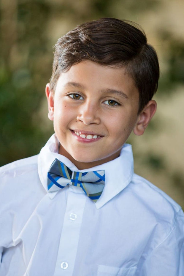 Azure and Black Plaid Bow Tie (Boys and Men)