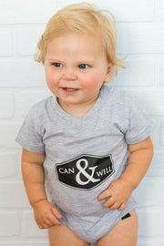 Can & Will Gray V-Neck Bodysuit