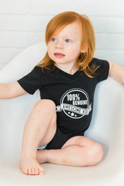 Genuine Awesome Kid Black V-Neck Bodysuit
