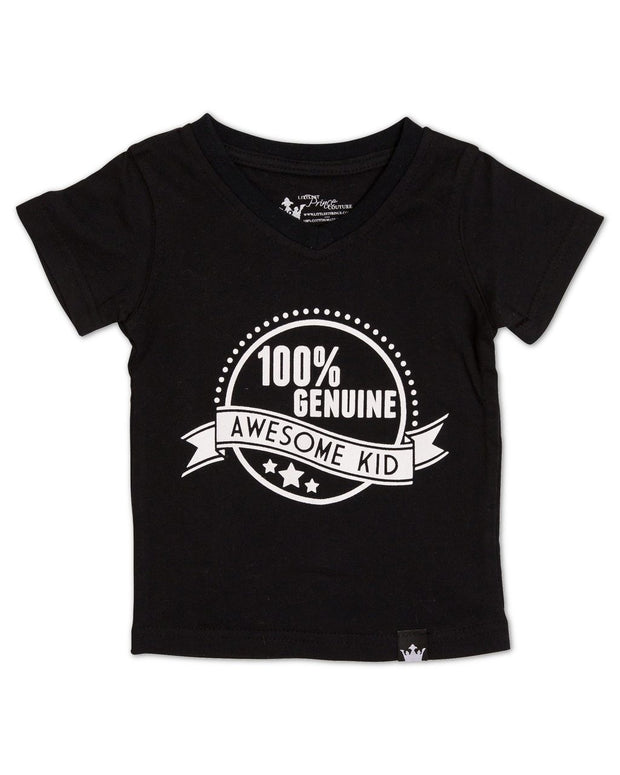 Genuine Awesome Kid Black V-Neck Tee
