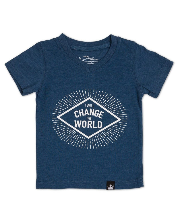 Change The World Navy V-Neck Tee