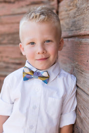 Gold and Blue Check Bow Tie (Boys and Men)