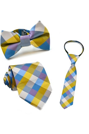 Gold and Blue Check Tie