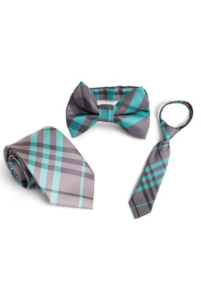 Graphite and Mint Plaid Tie