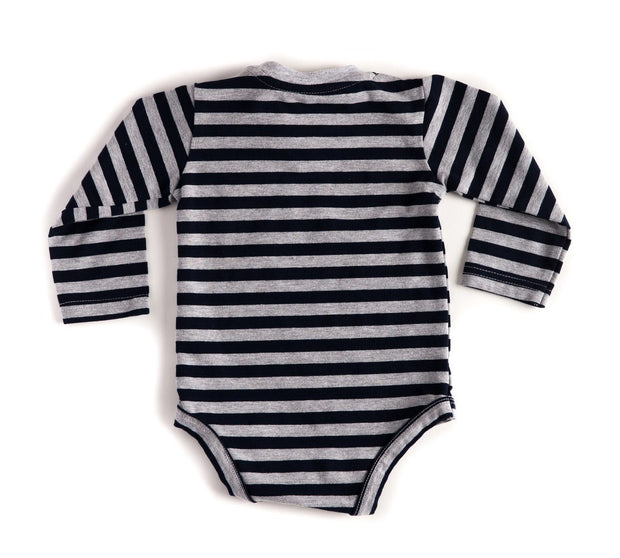 Long Sleeve Black & Gray Stripe V-Neck Pocket Bodysuit