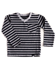 Long Sleeve Black & Gray Stripe V-Neck Pocket Tee