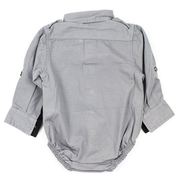 Long Sleeve Gray Canvas Bodysuit