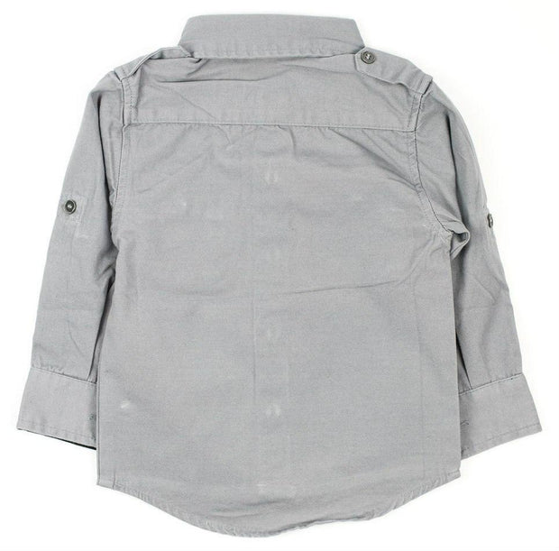 Long Sleeve Gray Canvas Dress Shirt
