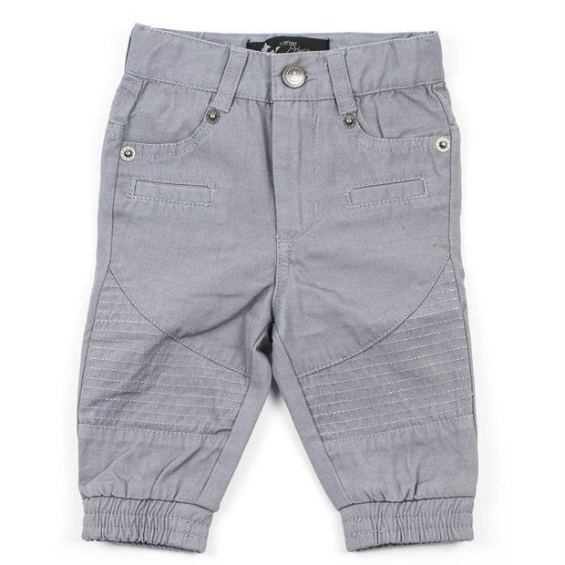 Gray Canvas Moto Pants