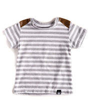 Gray & White Stripe Vegan Leather Shoulder Tee