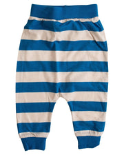 Oatmeal & Blue Stripe Harem Pants