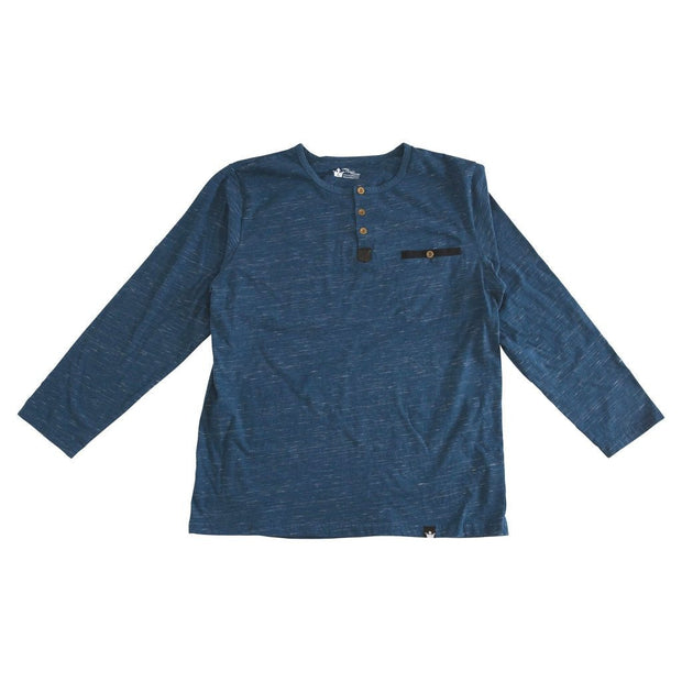 Navy Slub Knit Men's Henley Shirt