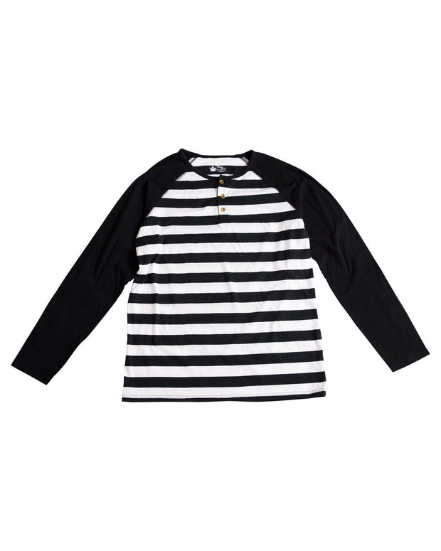 Black & White Stripe Men's Henley Raglan Shirt
