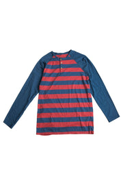 Long Sleeve Striped Henley Raglan