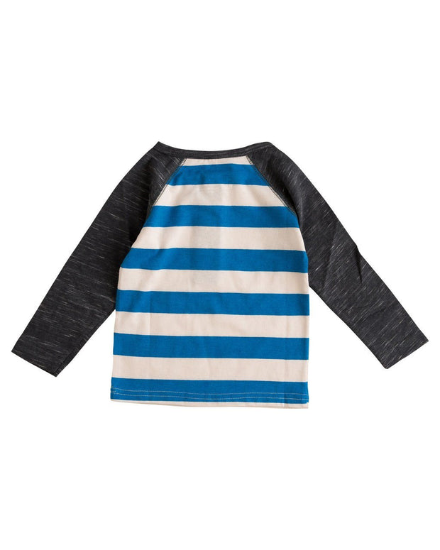 Oatmeal Stripe & Charcoal Slub Knit Raglan Shirt