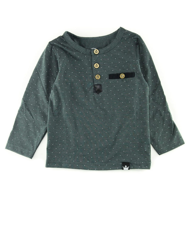 Charcoal Dots Henley Shirt