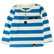 Oatmeal & Blue Stripe Men's Henley Shirt
