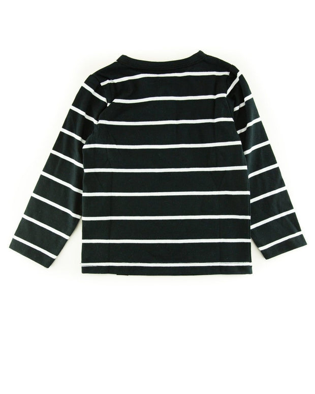 Thick Black Stripe Henley Shirt