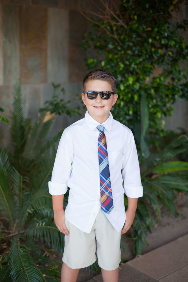 Scarlet and Navy Plaid Zipper Tie (Boys and Men)