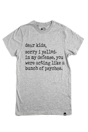 Sorry I Yelled Gray Crew Neck Mom Tee