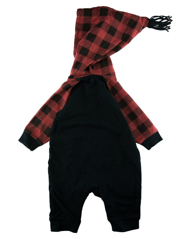 Buffalo Check Hooded Raglan Romper