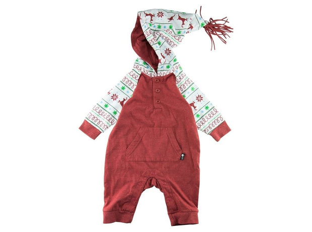 Red Nordic Hooded Raglan Romper