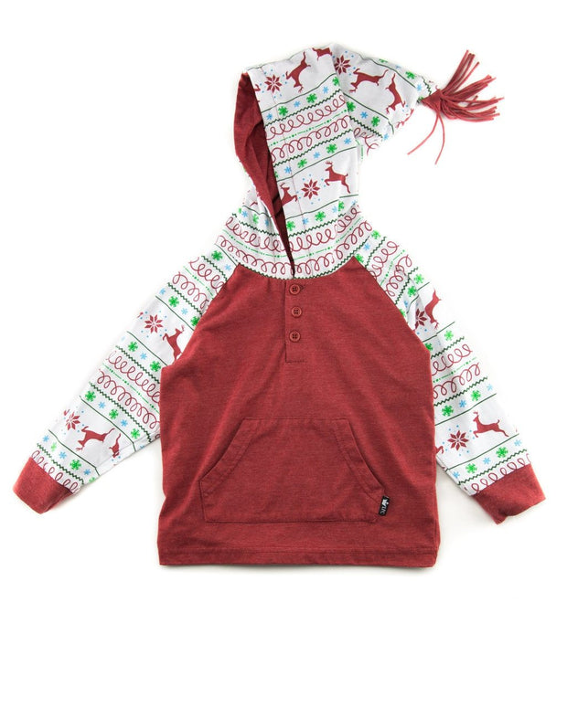 Red Nordic Hooded Raglan Shirt