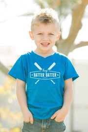 Hey Batter Batter Royal Blue V-Neck Tee