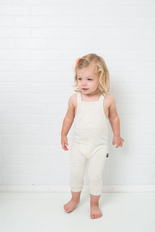 Cream French Terry Overall Romper