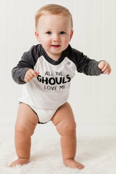 All The Ghouls Love Me Charcoal Raglan Bodysuit