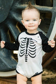 Skeleton Black Raglan Bodysuit