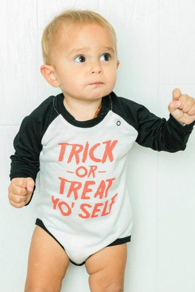 Trick Or Treat Yo Self Black Raglan Bodysuit