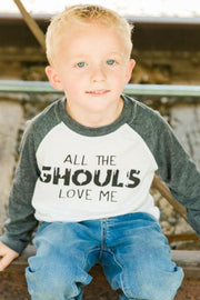 All The Ghouls Love Me Charcoal Raglan Tee
