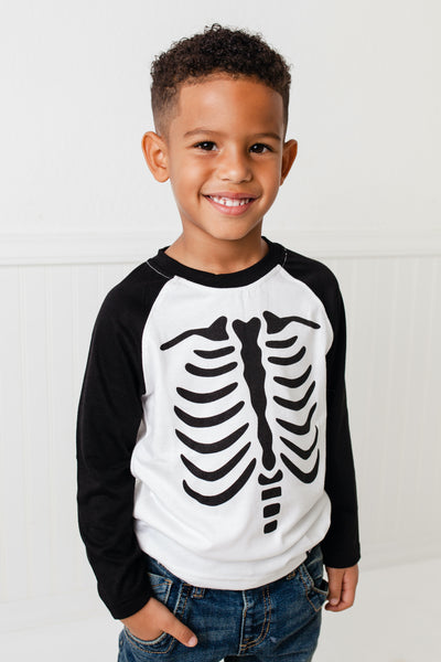Skeleton Black Raglan