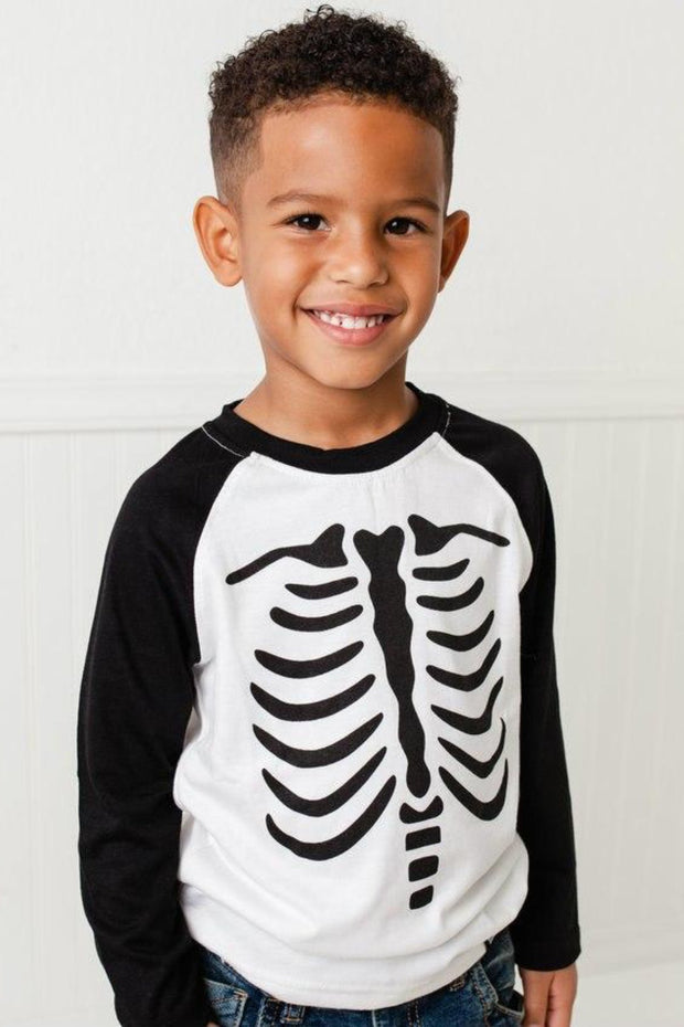 Skeleton Black Raglan Tee