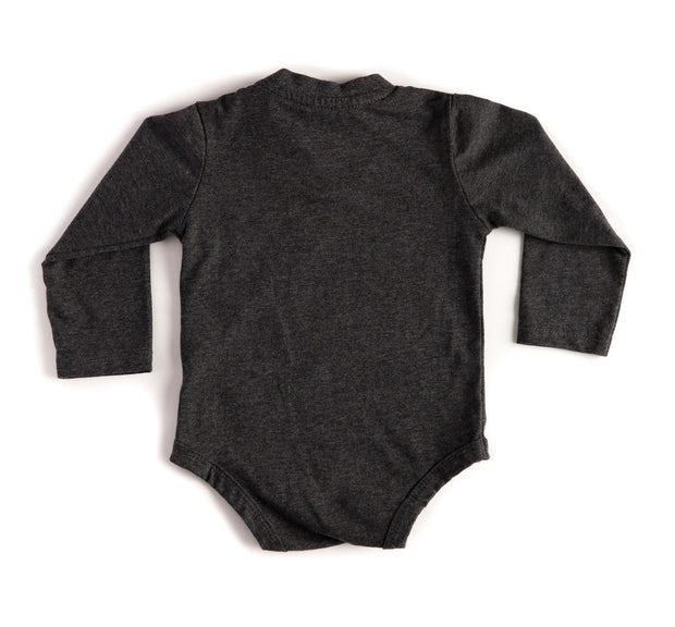 Long Sleeve Heather Black V-Neck Pocket Bodysuit