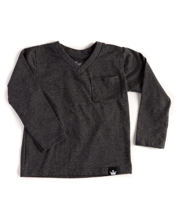 Long Sleeve Heather Black V-Neck Pocket Tee