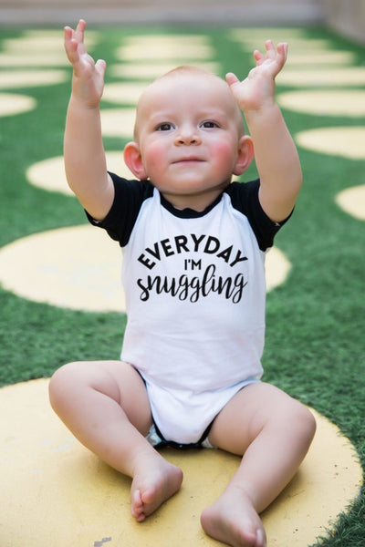 Everyday I'm Snugglin' Black Half Sleeve Raglan Bodysuit