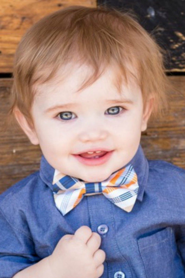 Indigo and Orange Plaid Bow Tie (Boys and Men)
