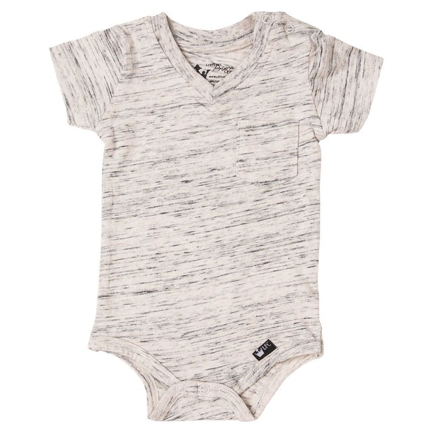 Oatmeal Slub Knit V-Neck Pocket Bodysuit
