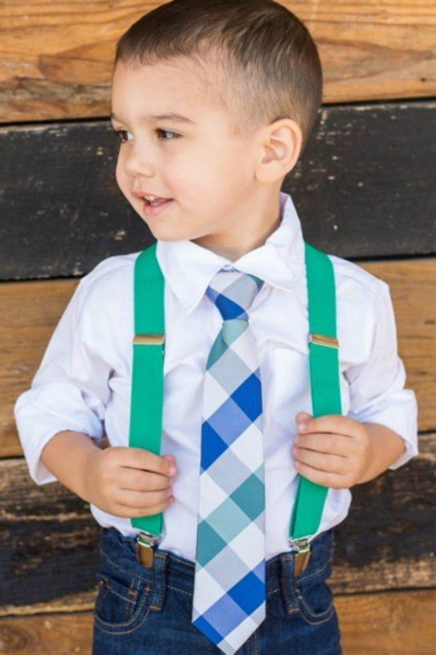 Jade and Blue Check Zipper Tie
